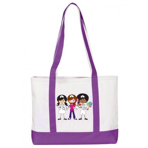 Large Canvas Tote Bag Nurse Trio Purple