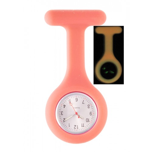 Silicone Nurses Fob Watch Glow Pink