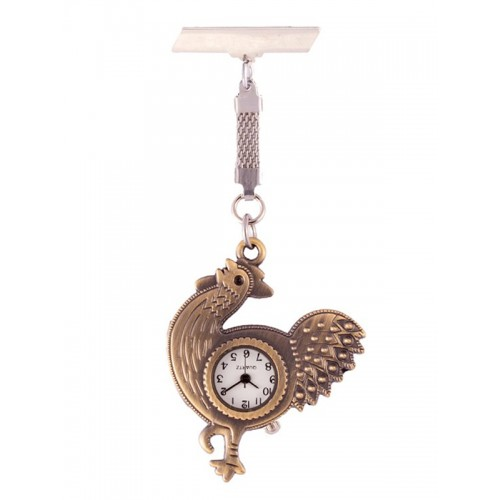 Fob Watch Rooster Bronze
