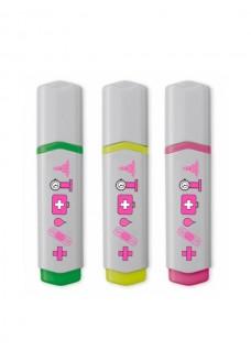 Highlighter 3 Pack Medical Symbols Pink