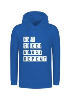 Hoodie Eat Sleep Nurse Repeat Blue