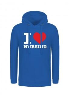 Hoodie I Love Nursing Blue