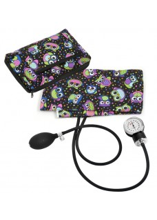 Premium Aneroid Sphygmomanometer with Carry Case Party Owls Black
