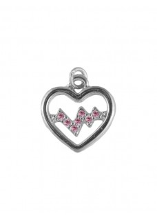 Heartbeat Silver-Pink Pendant (Small)