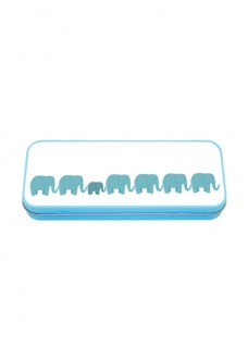 Metal Stationary Case Blue Elephants