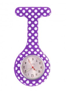 Nurses Fob Watch Polka Dots Purple
