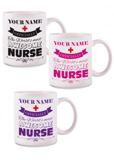 Mug Awesome Nurse with name print