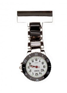 Nurses Fob Watch Silver Black