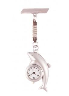 Nurses Fob Watch Silver Dolphin