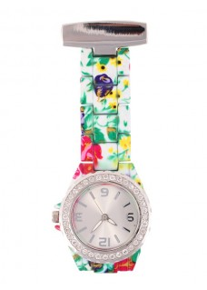 Nurses Fob Watch Flower Glamour White