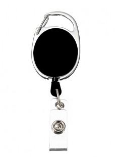 Retractable Badge/ID Holder Carabiner Black
