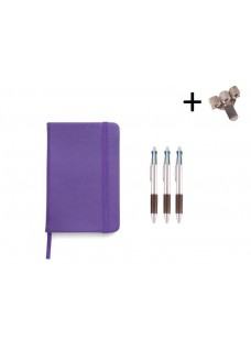 Set Notebook A5 + Pens Purple