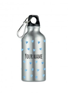Drink Bottle Blue Hearts Silver