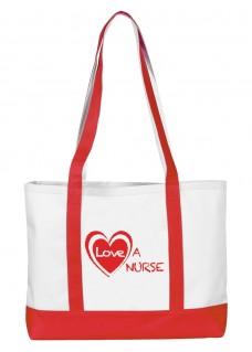 Large Canvas Tote Bag Love a Nurse