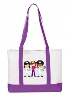 Large Canvas Tote Bag Nurse Trio Purple