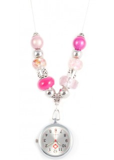 Necklace Watch Beads Pearl Pink