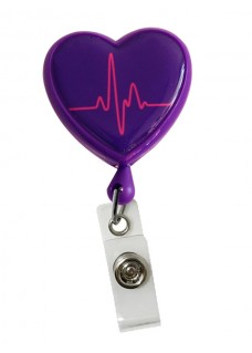 Retracteze ID Holder Heart ECG Purple