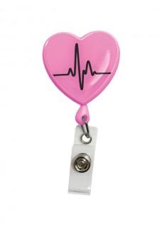 Retracteze ID Holder Heart ECG Pink