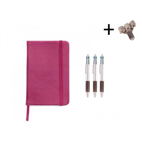 Set Notebook A5 + Pens Pink