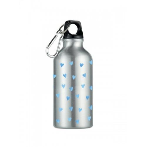 Drink Bottle Blue Hearts Silver