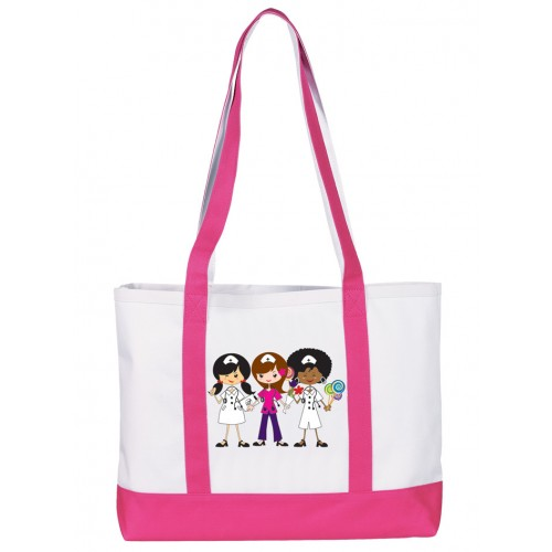 Large Canvas Tote Bag Nurse Trio Pink