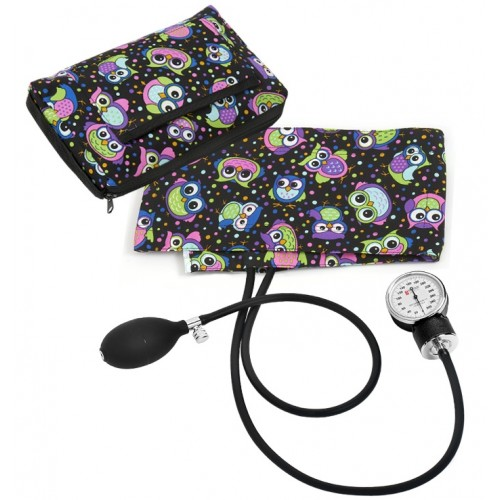 Premium Aneroid Sphygmomanometer with Carry Case Party Owls Black