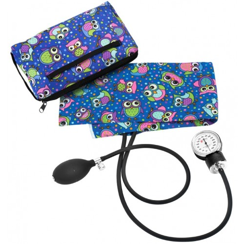 Premium Aneroid Sphygmomanometer with Carry Case Party Owls Blue