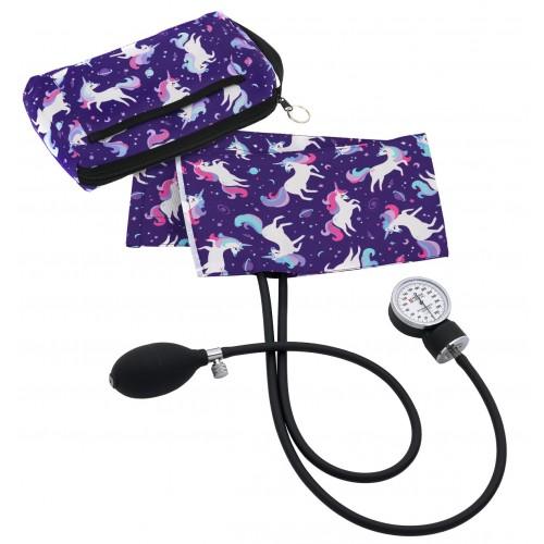 Premium Aneroid Sphygmomanometer with Carry Case Unicorn Purple
