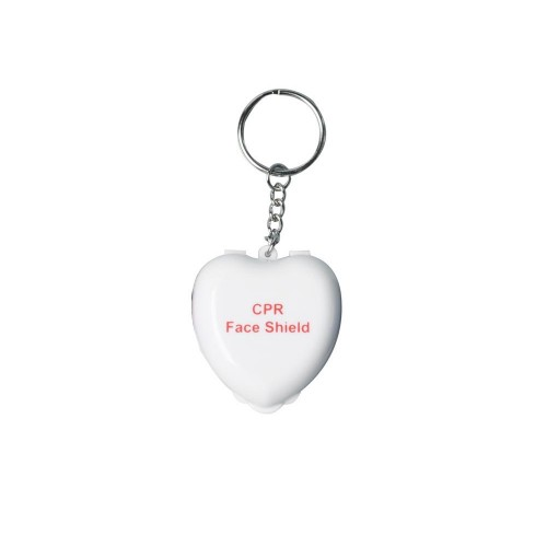 CPR Mask Key Ring Heart White