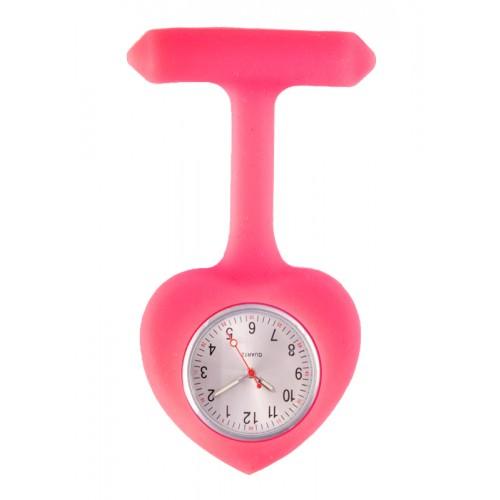 Silicone Heart Nurse Fob Watch Pink