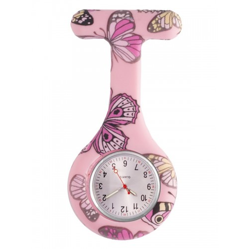 Nurses Fob Watch Butterfly Pink