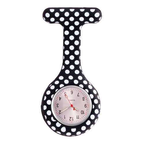 Nurses Fob Watch Polka Dots Black