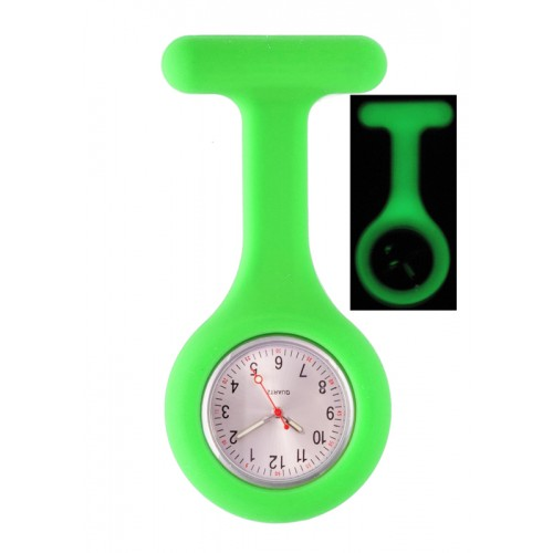 Silicone Nurses Fob Watch Glow Green