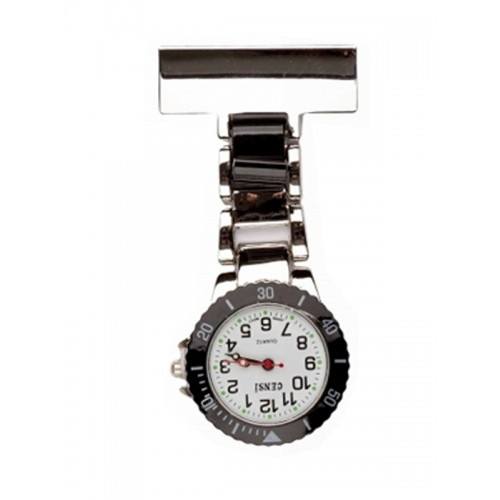 Nurses Fob Watch Silver Black
