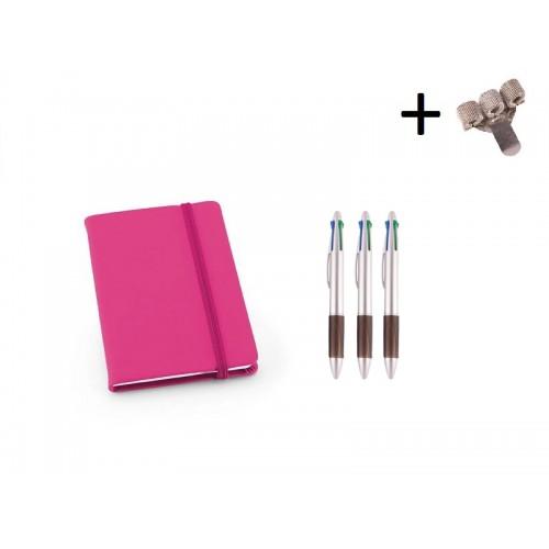 Set Notebook A6 + Pens Pink