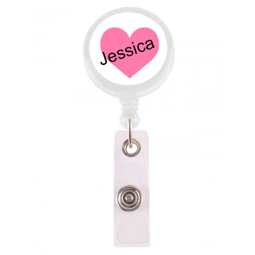Retracteze ID Holder Pink Heart with FREE name print